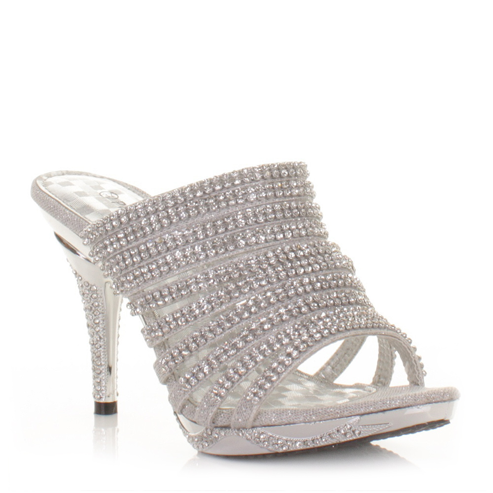 womens diamante silver high heel prom mules shoes