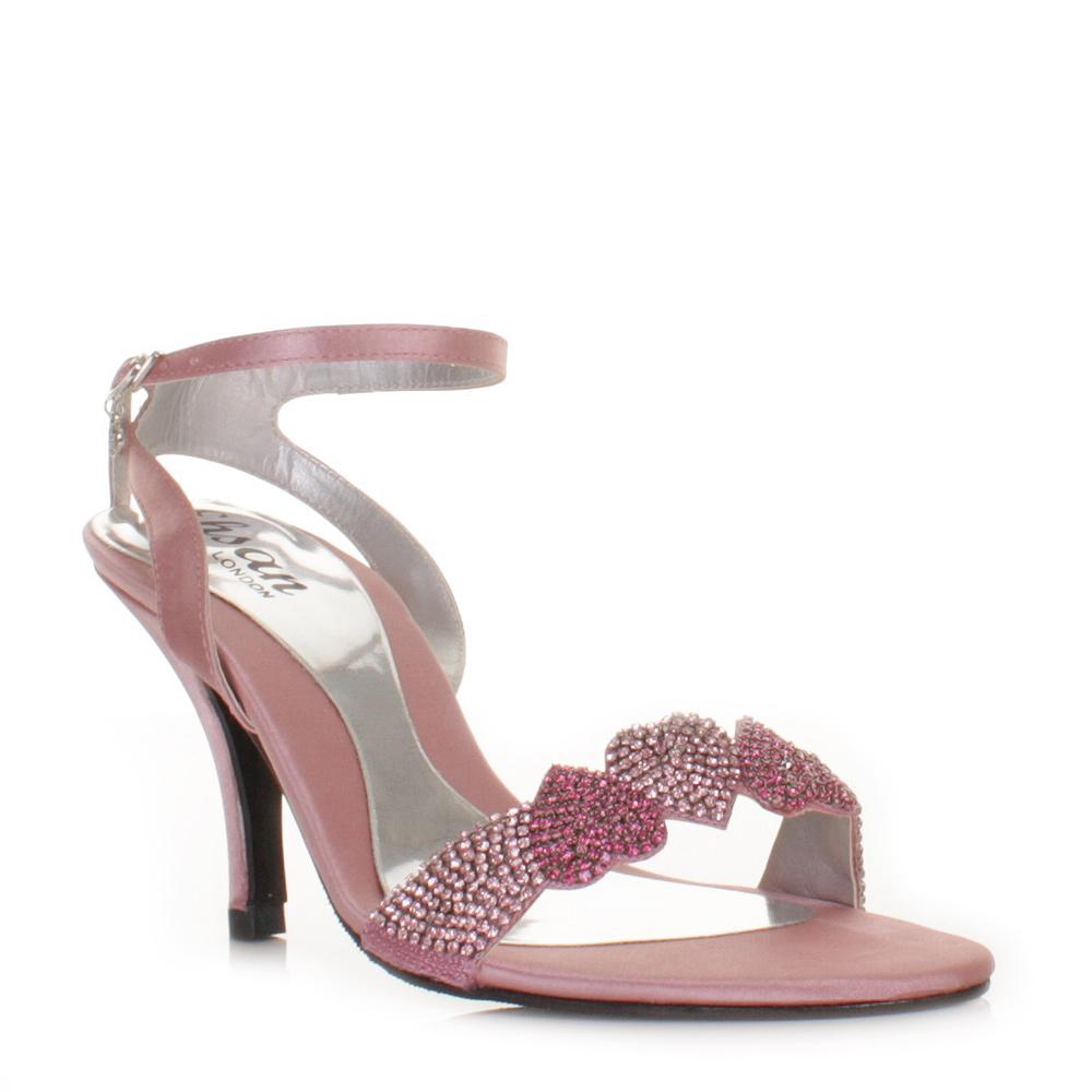 Womens Sandal Heart Mid Heel Diamante Satin Strappy Wedding Prom ...