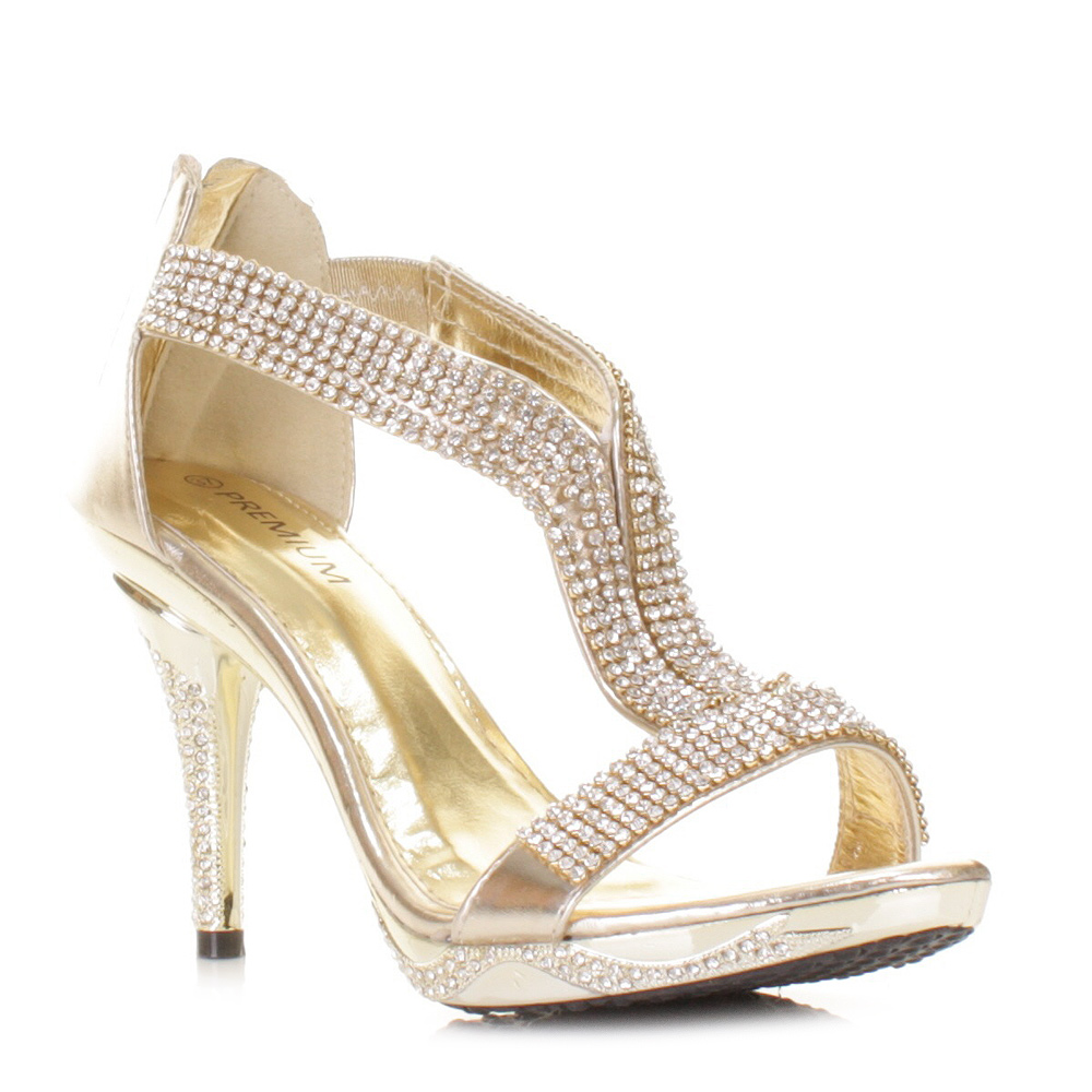 mid heel gold diamante prom wedding evening