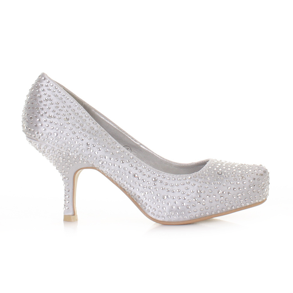 Low Heel Silver Prom Shoes
