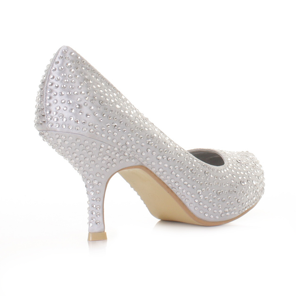 Ladies Silver Kitten Heel Shoes