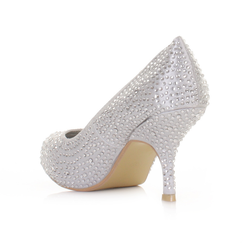 Womens Wedding Prom Shoes Low Kitten Heel Diamante Satin Party ...