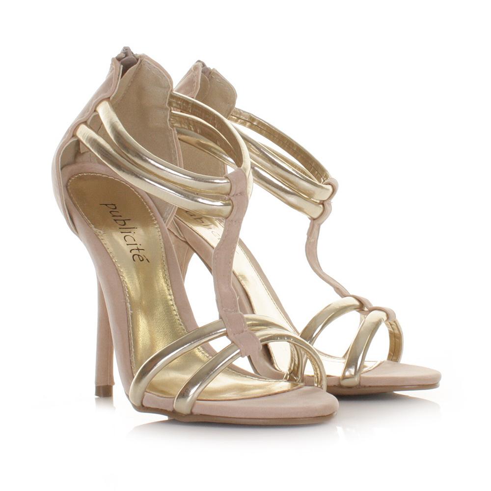 womens gold cream high heel gladiator strappy sandals. Black Bedroom Furniture Sets. Home Design Ideas