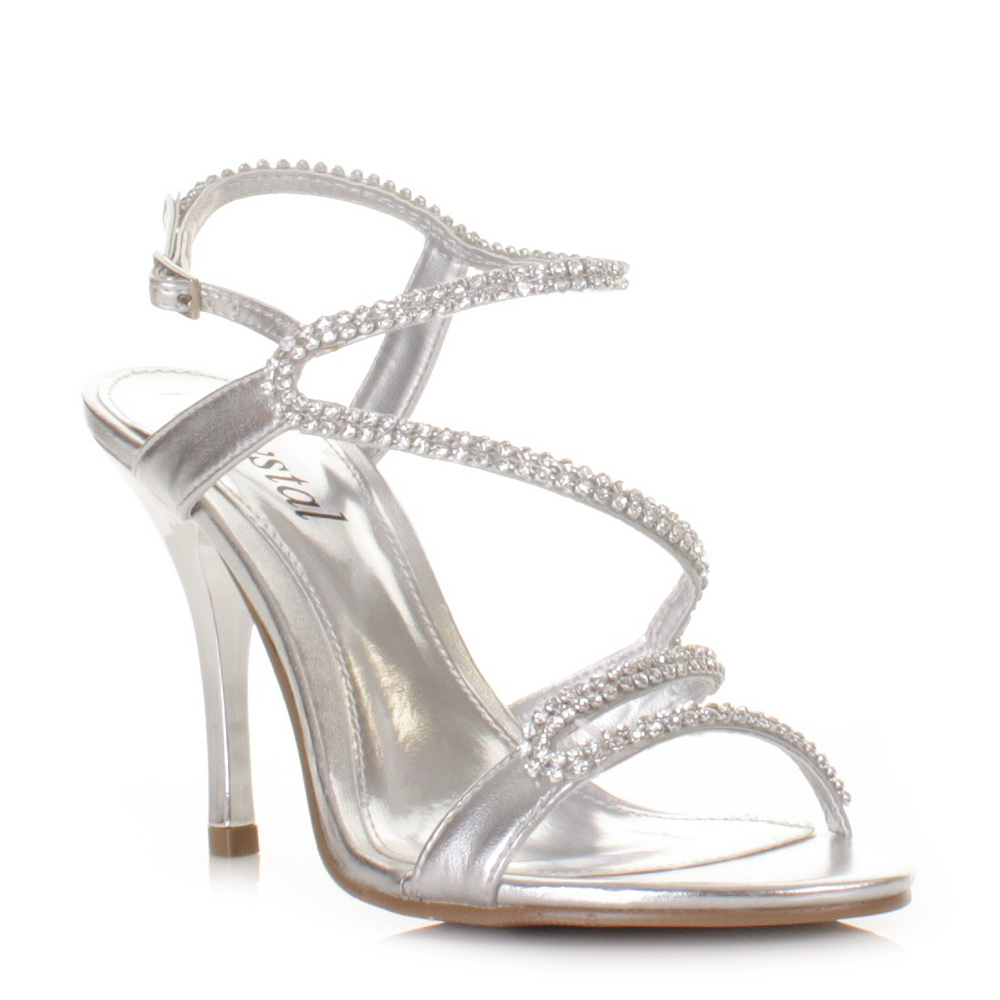 Silver Strappy Prom Heels - Is Heel