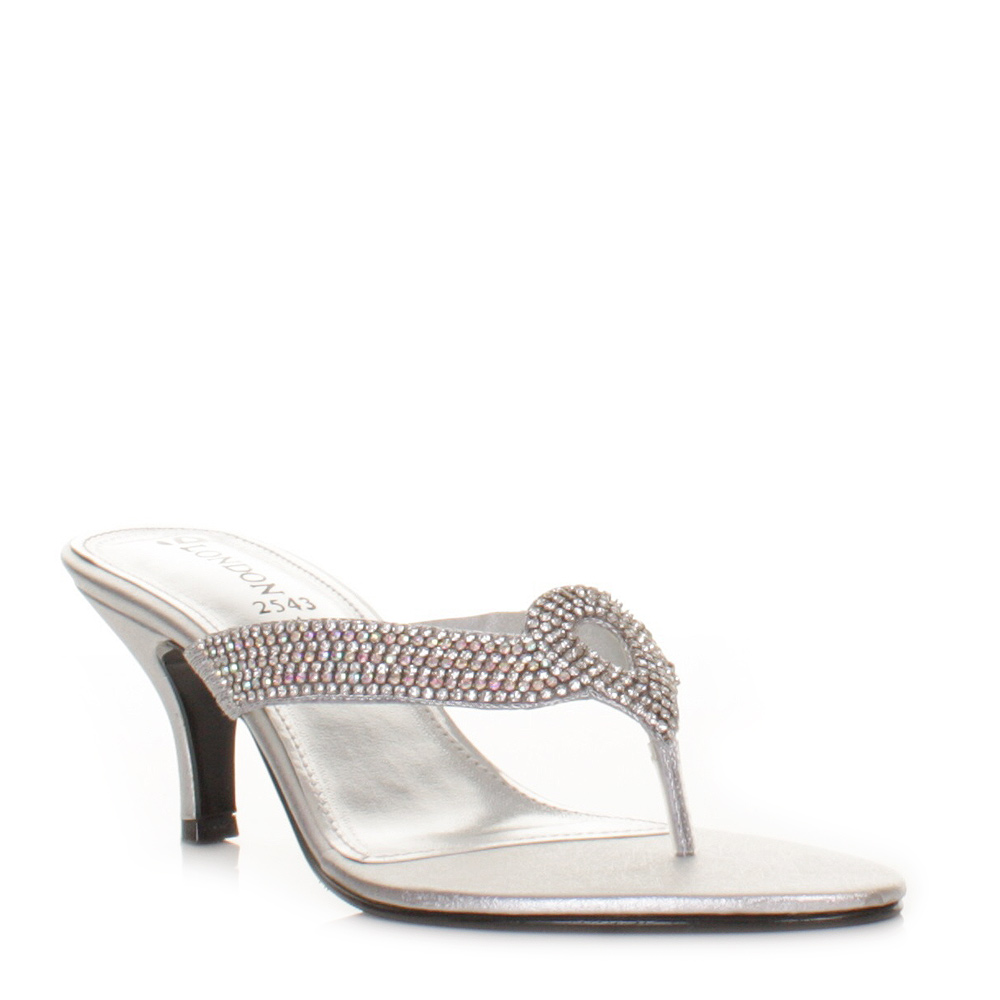 low heel diamante silver mule wedding prom sandals