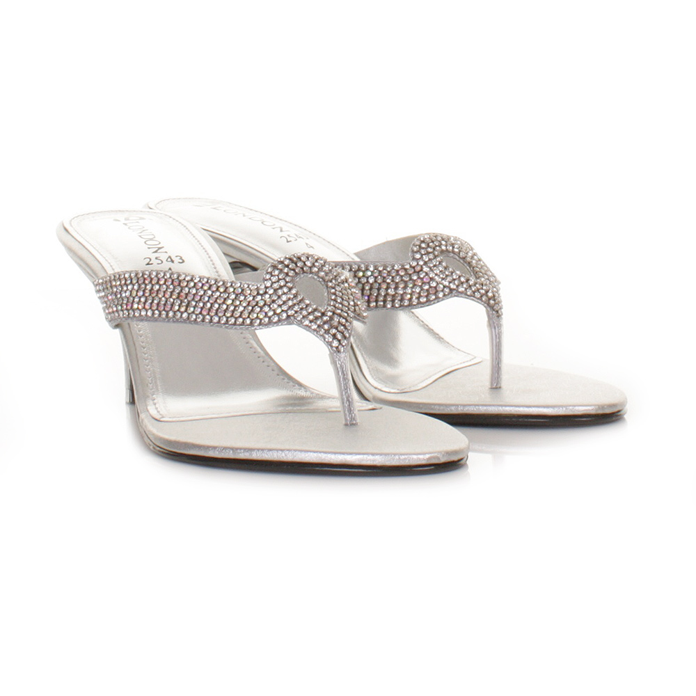 womens low heel diamante silver mule wedding prom sandals