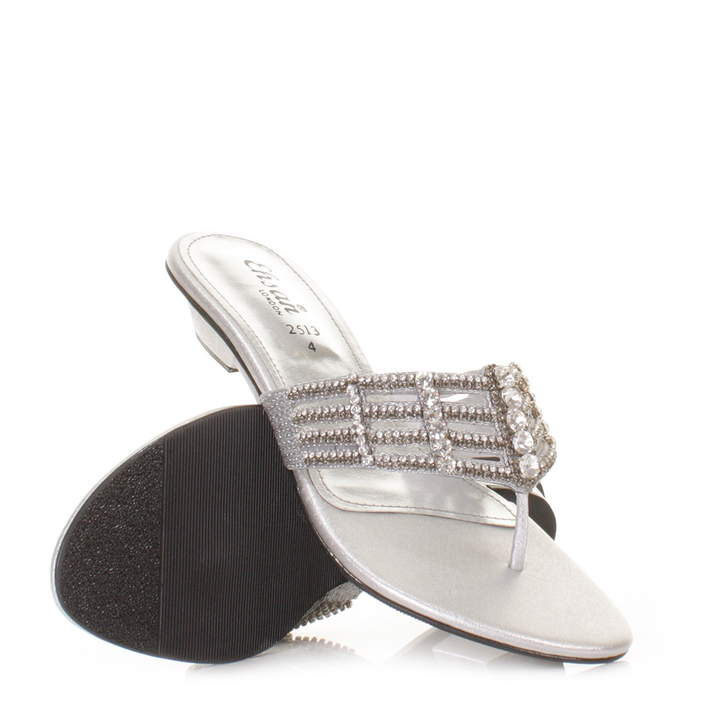 Womens Ladies Flat Diamante Mule Sandals Prom Shoes Sparkly Size 5-11 | EBay