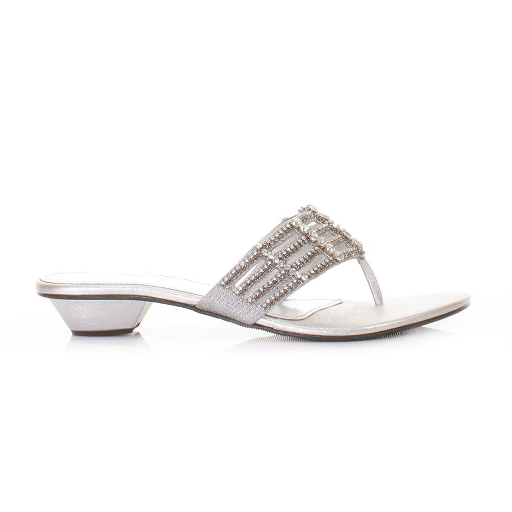 womens flat diamante mule sandals prom shoes