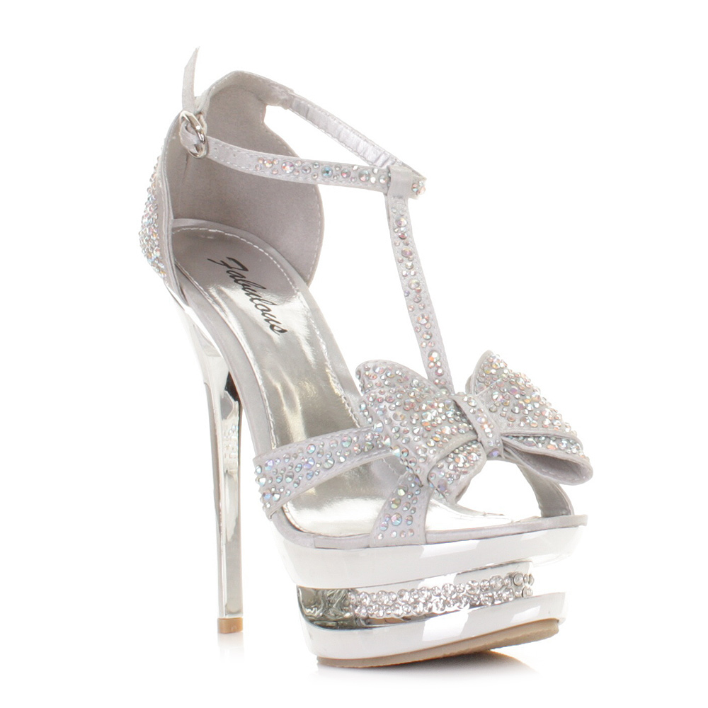 womens high heel platform stiletto diamante silver bow