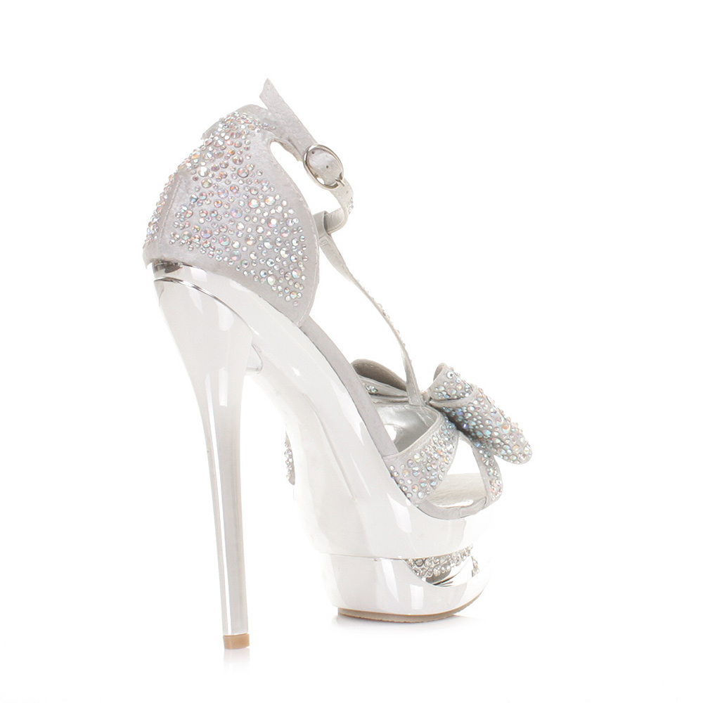 silver heels with bow is heel