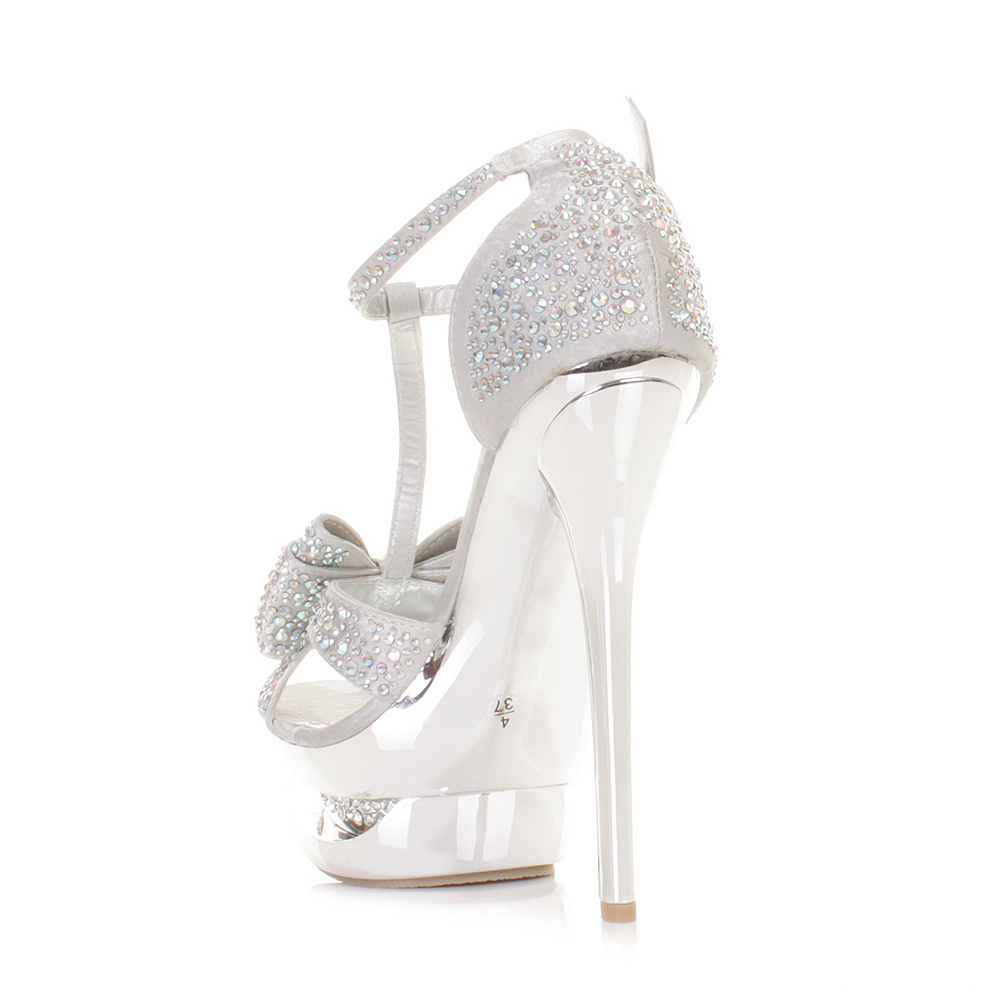 Silver High Heels With Bows