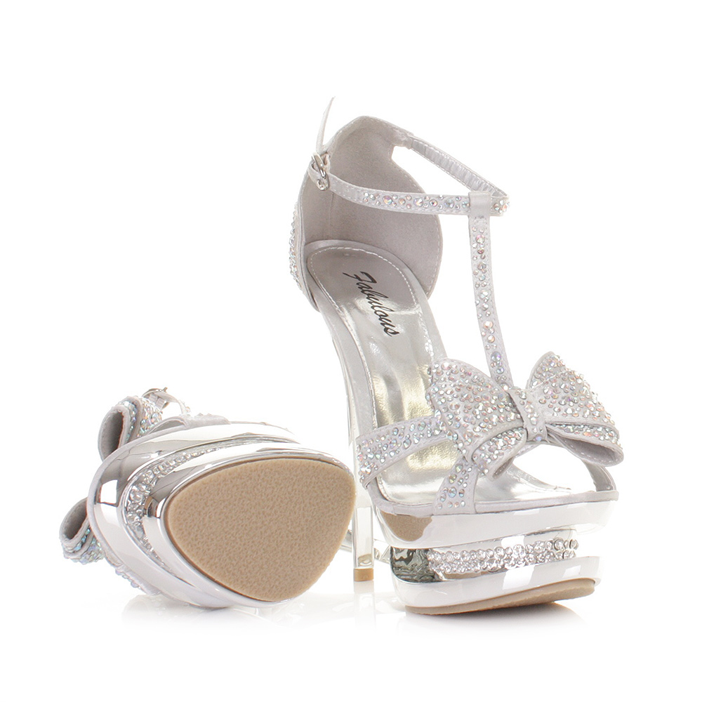 WOMENS HIGH HEEL PLATFORM STILETTO DIAMANTE SILVER BOW PROM PARTY ...