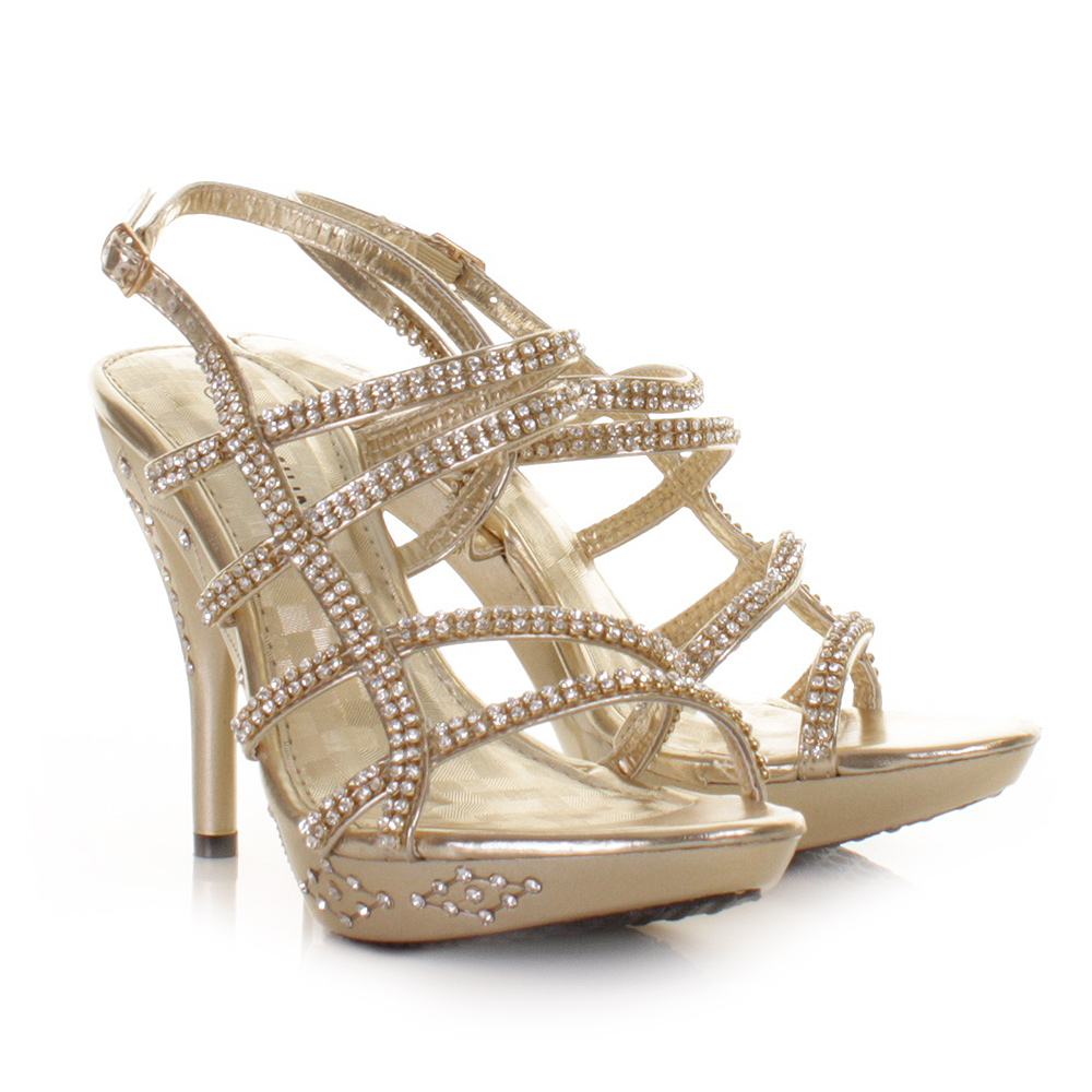 womens strappy gold diamante prom shoes