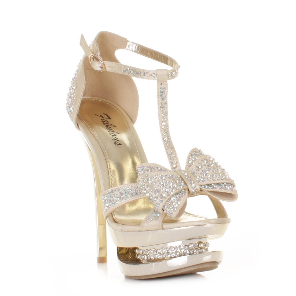 womens gold satin diamante platform bow prom shoes