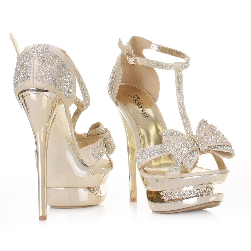 WOMENS GOLD SATIN DIAMANTE PLATFORM BOW PROM SHOES STILETTO HIGH ...