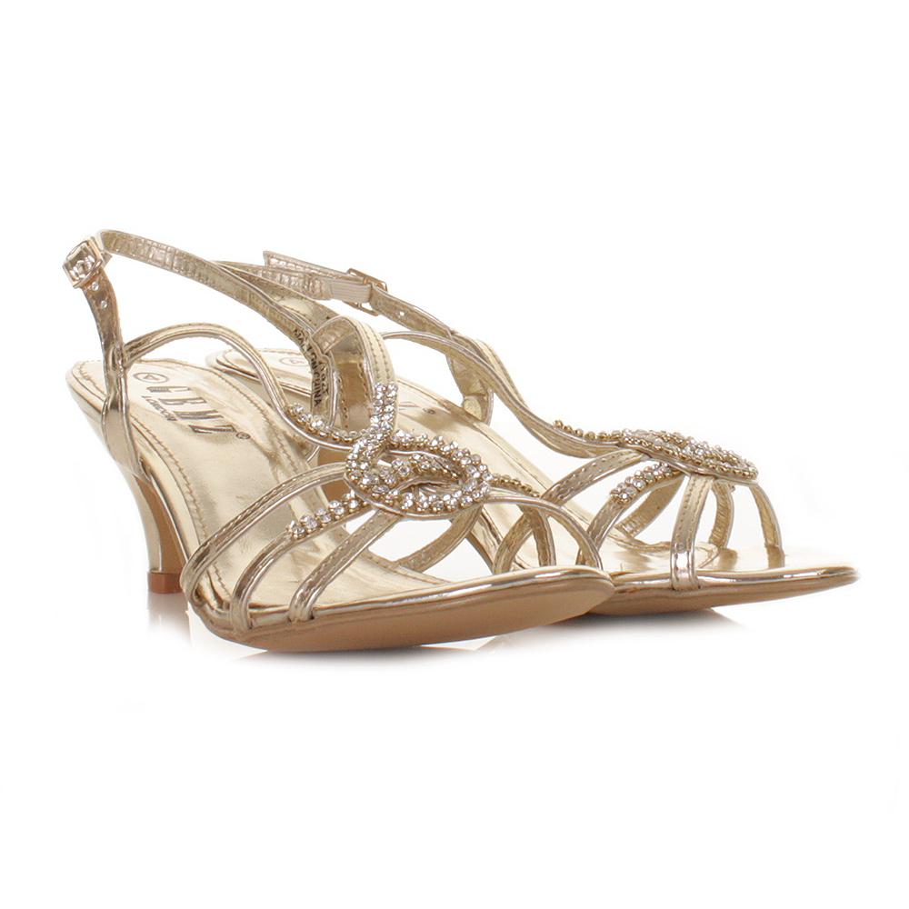 womens low heel gold strappy diamante prom sandals