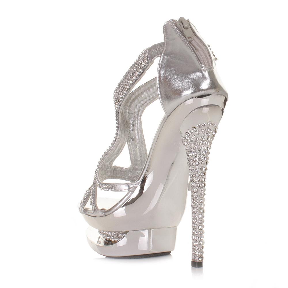 womens platform high heel diamante silver metallic strappy