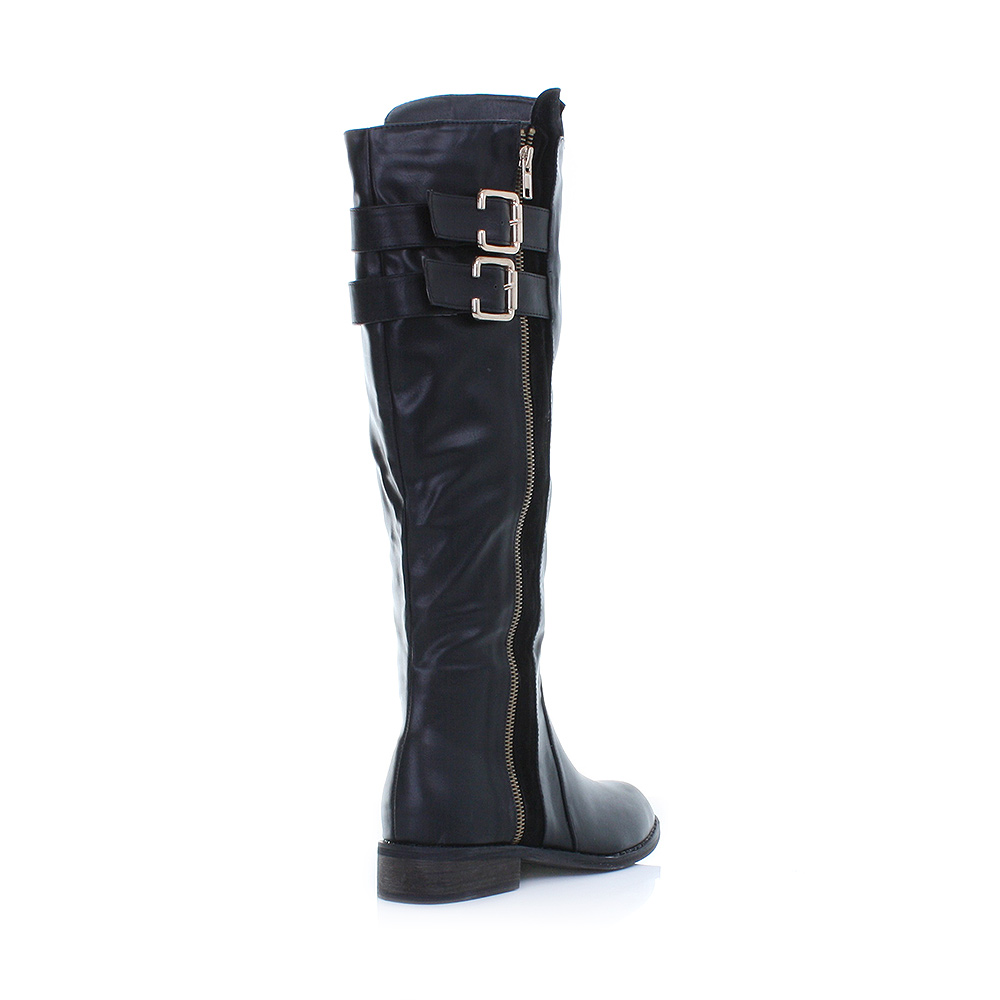 womens black leather style knee high gold zip low heel