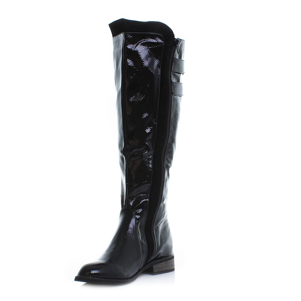 womens black patent knee high gold zip low heel flat