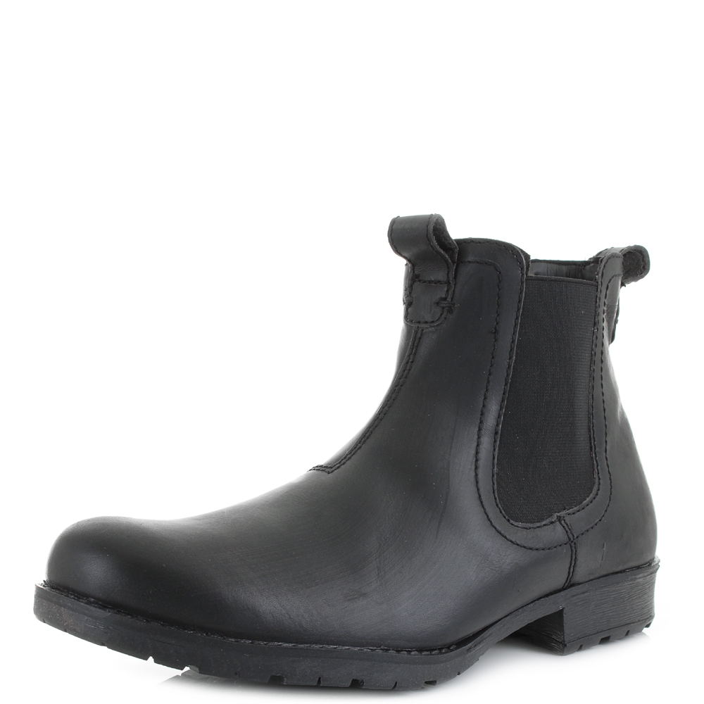 mens chelsea black ankle leather pull on work smart boots