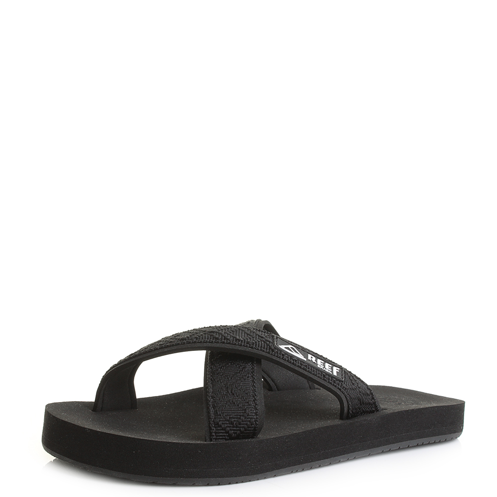 Womens Reef Crossover Strap Black Flat Sandals Flip Flops