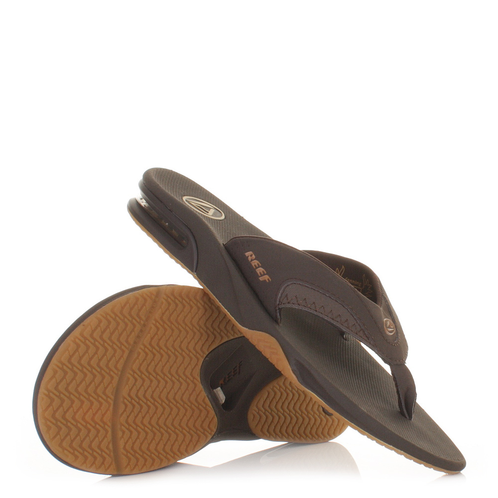 MENS REEF FANNING BROWN GUM FLIP FLOPS SURF BEACH SANDALS SHOES SIZE 6 ...