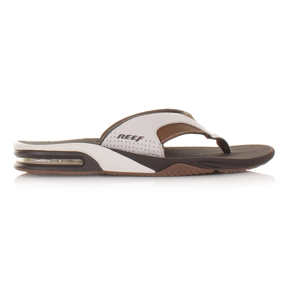 sandalen flip flops von reef f r herren braun wei aus leder gr 39 46. Black Bedroom Furniture Sets. Home Design Ideas
