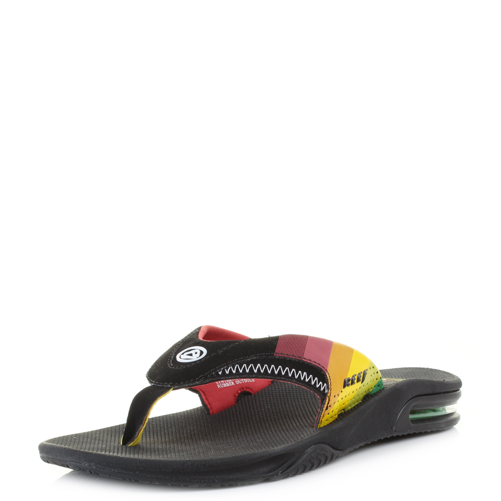 mens reef fanning prints red yellow green active toe post flip flops uk size ebay. Black Bedroom Furniture Sets. Home Design Ideas