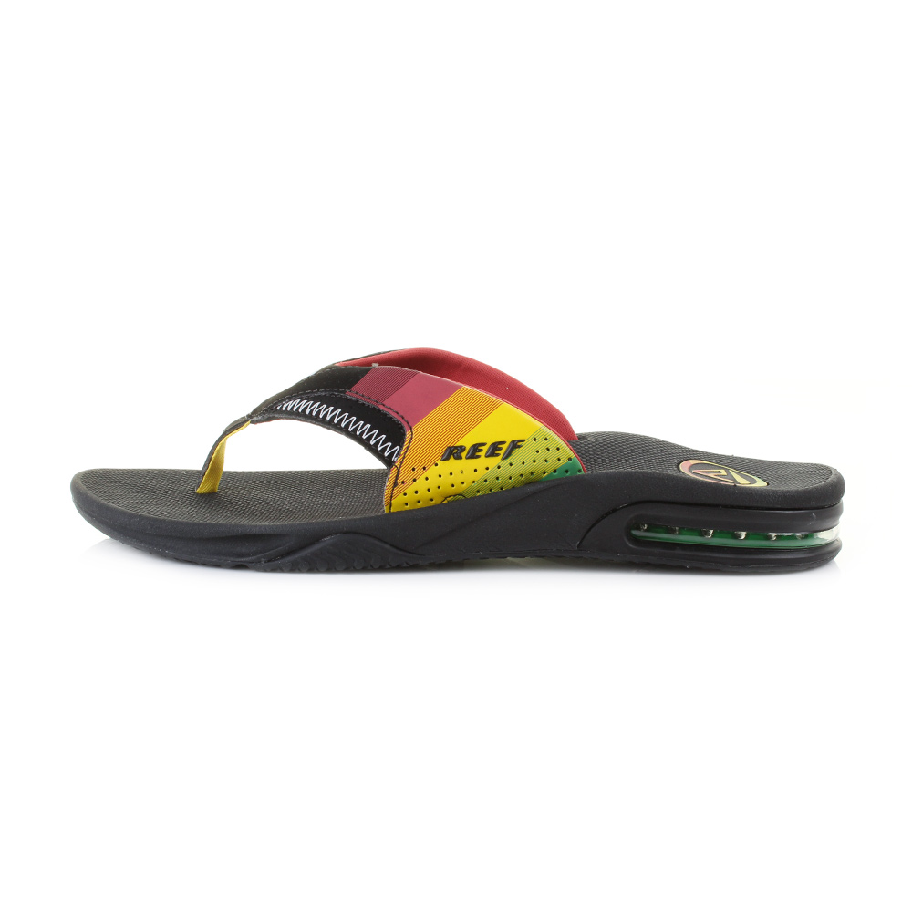 mens reef fanning prints red yellow green active toe post flip flops size ebay. Black Bedroom Furniture Sets. Home Design Ideas