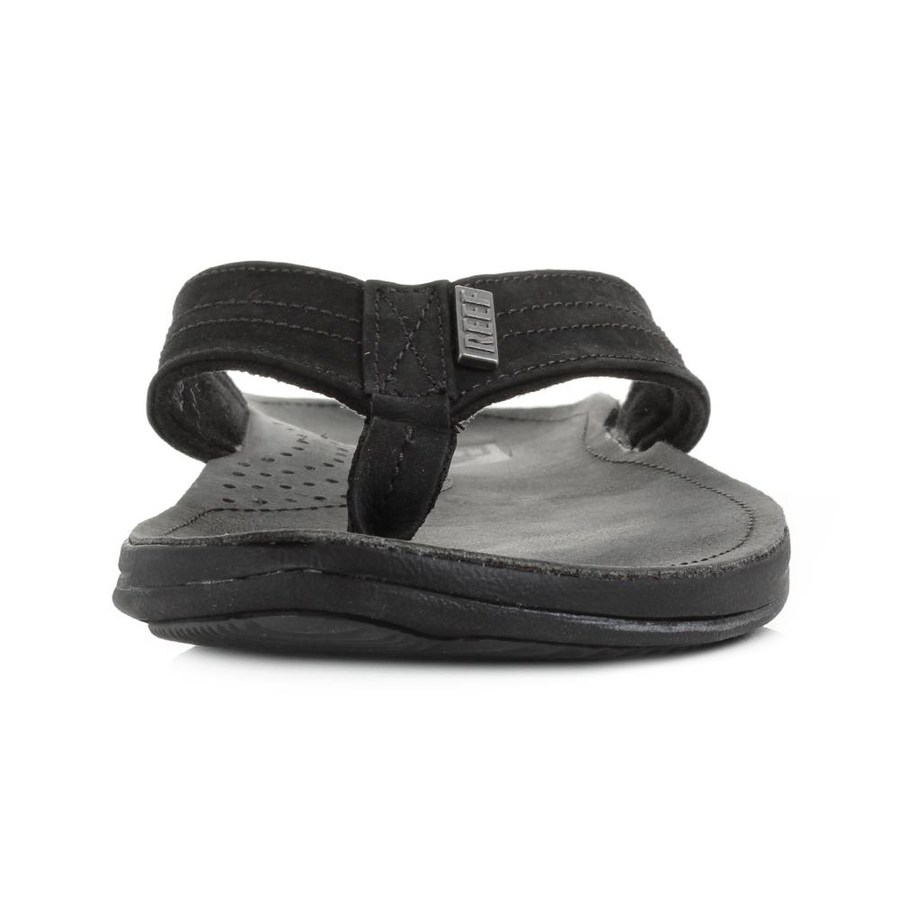 Black reef sandals - Mens Reef J Bay 3 Black Leather Toe