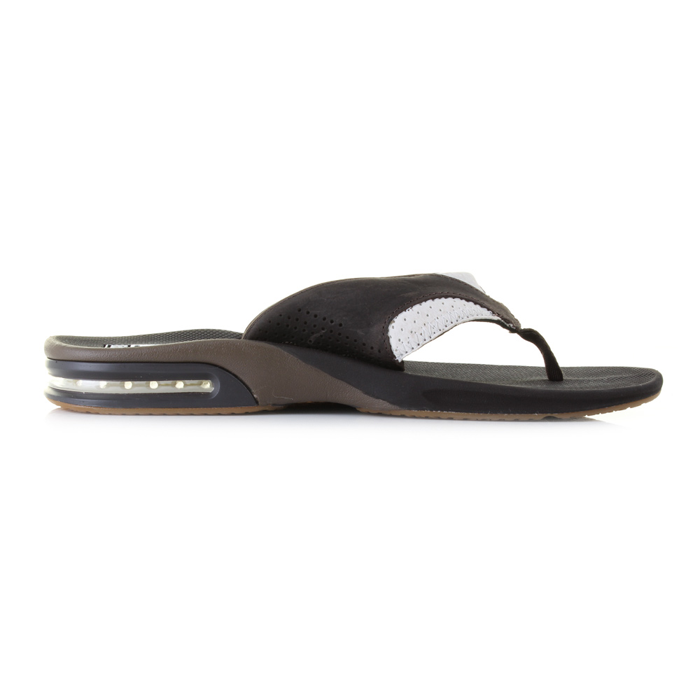 mens reef leather fanning white brown bottle opener sandals flip flops sz size ebay. Black Bedroom Furniture Sets. Home Design Ideas