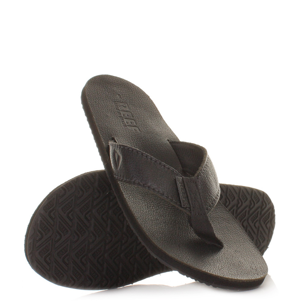 Mens Reef Leather Smoothy Murdered Black Flip Flops