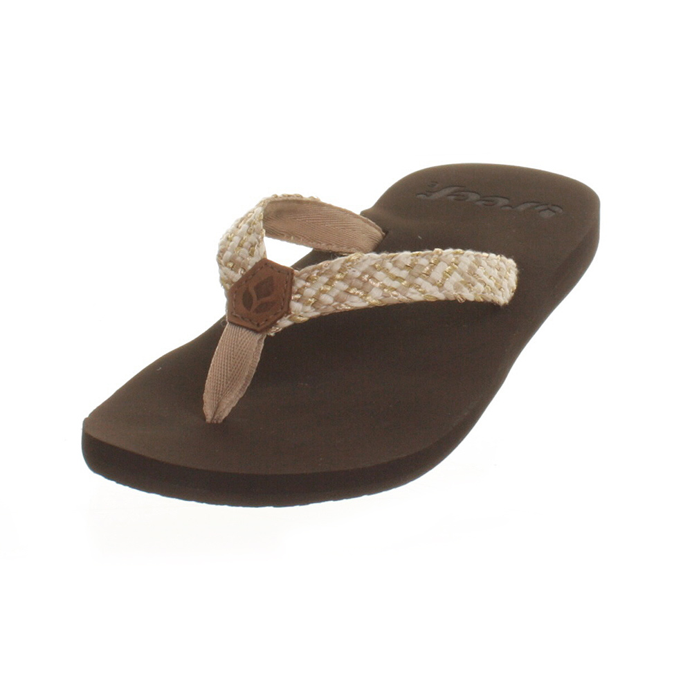 Innovative Reef Womenu0026#39;s Fanning - Flat Flip Flops With Bottle Opener - Brown / Cream / Blue - Reef From ...
