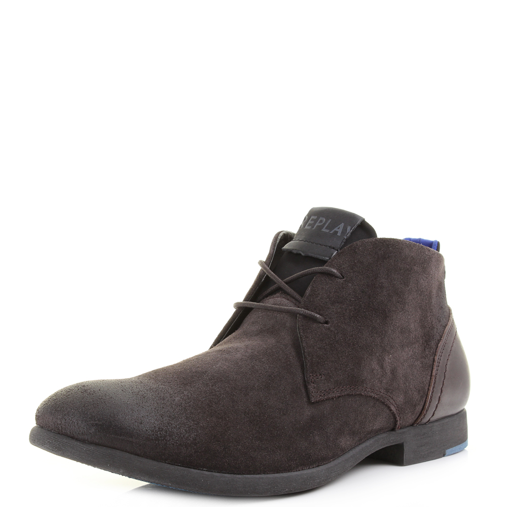 mens replay foxhall suede leather premium brown