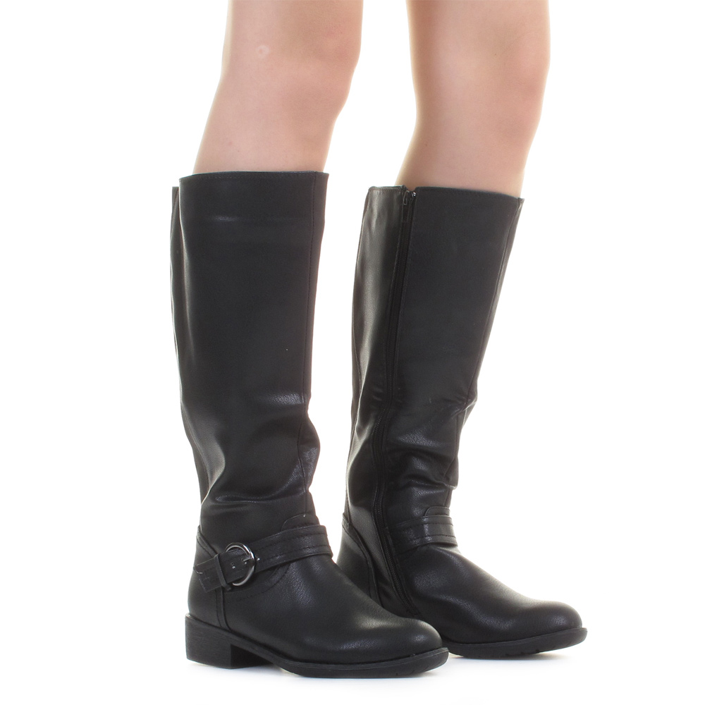 womens boots biker leather style wide fit calf
