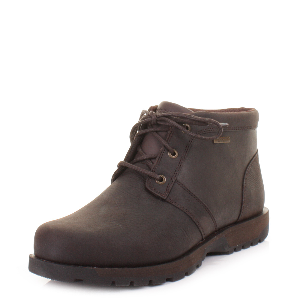 mens rockport bombay brown leather waterproof chukka