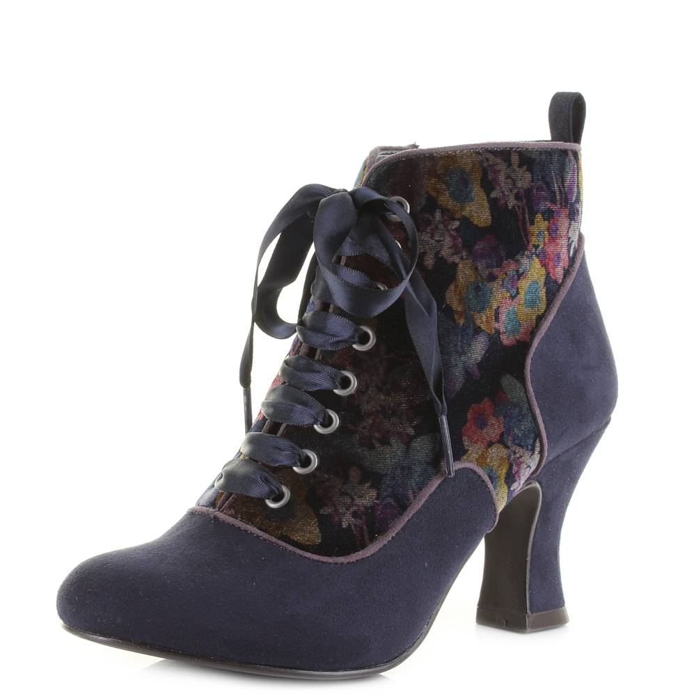 womens ruby shoo bailey navy heeled ankle boots uk size ebay