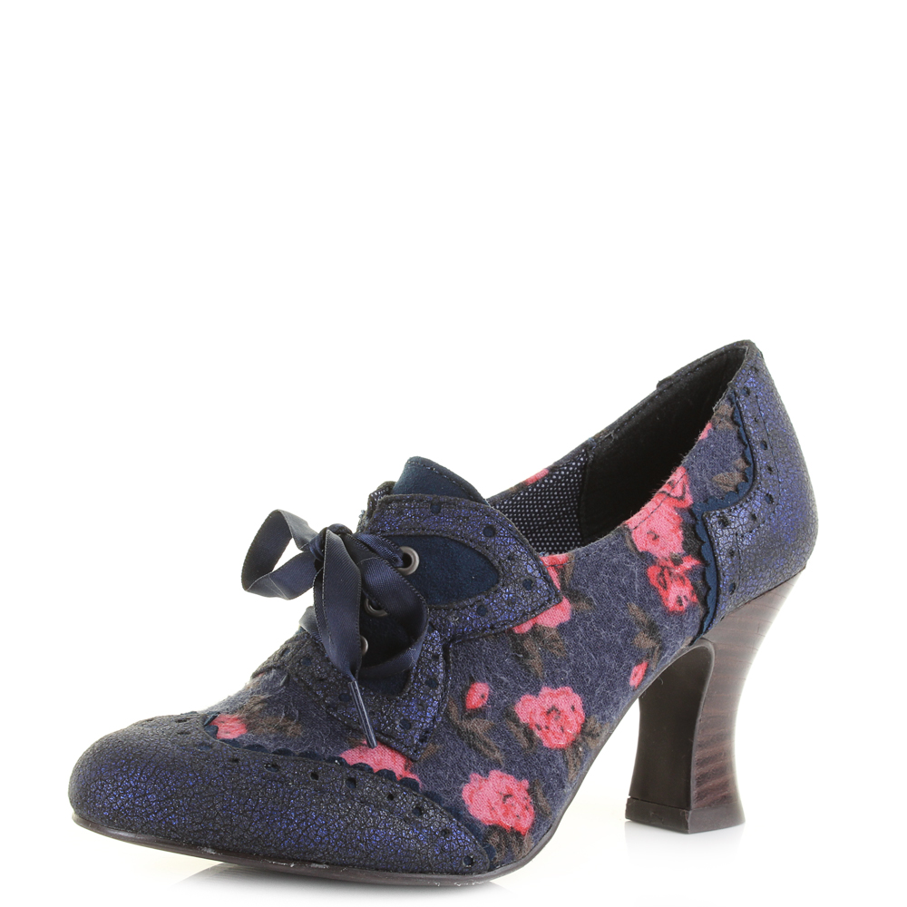 womens ruby shoo navy lace up heeled shoe boots uk