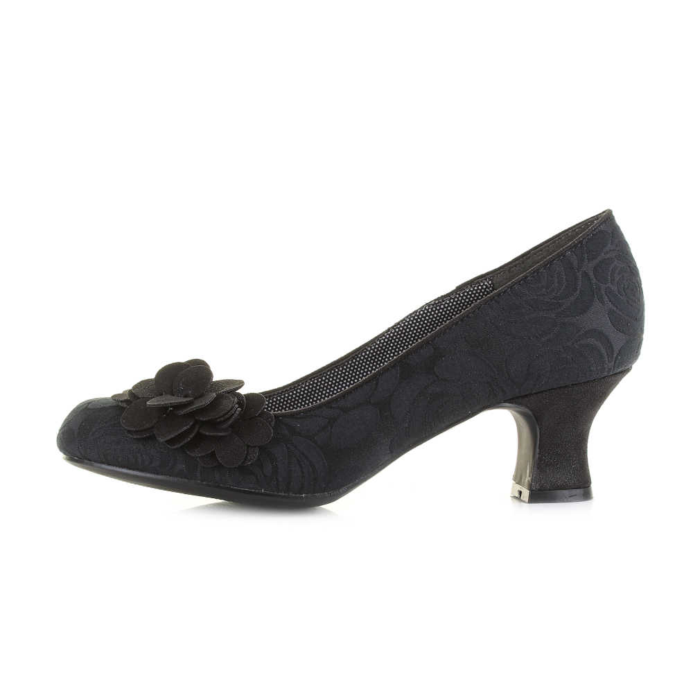 Womens Ruby Shoo Petra Black Low Heel Court
