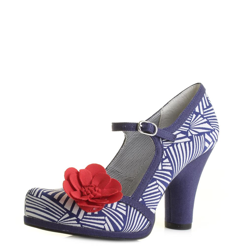 womens ruby shoo navy white high heel court shoes