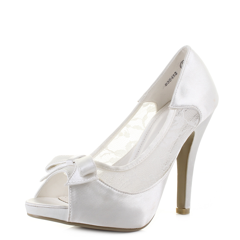 Womens Wedding Bridal Party Peep Toe Bow High Heel Ivory Shoes Sz Size