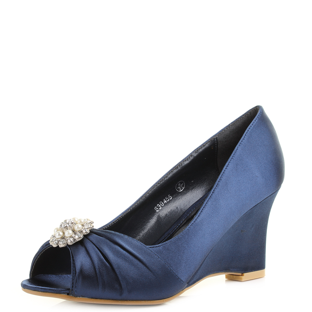 womens high heel wedgeheel wedding party peep toe diamante shoes shu size ebay. Black Bedroom Furniture Sets. Home Design Ideas