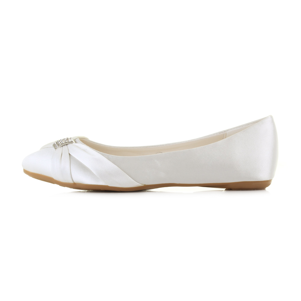 Womens Ivory Flat Ballerina Satin Dimante Wedding Bridal Shoes Pumps Size