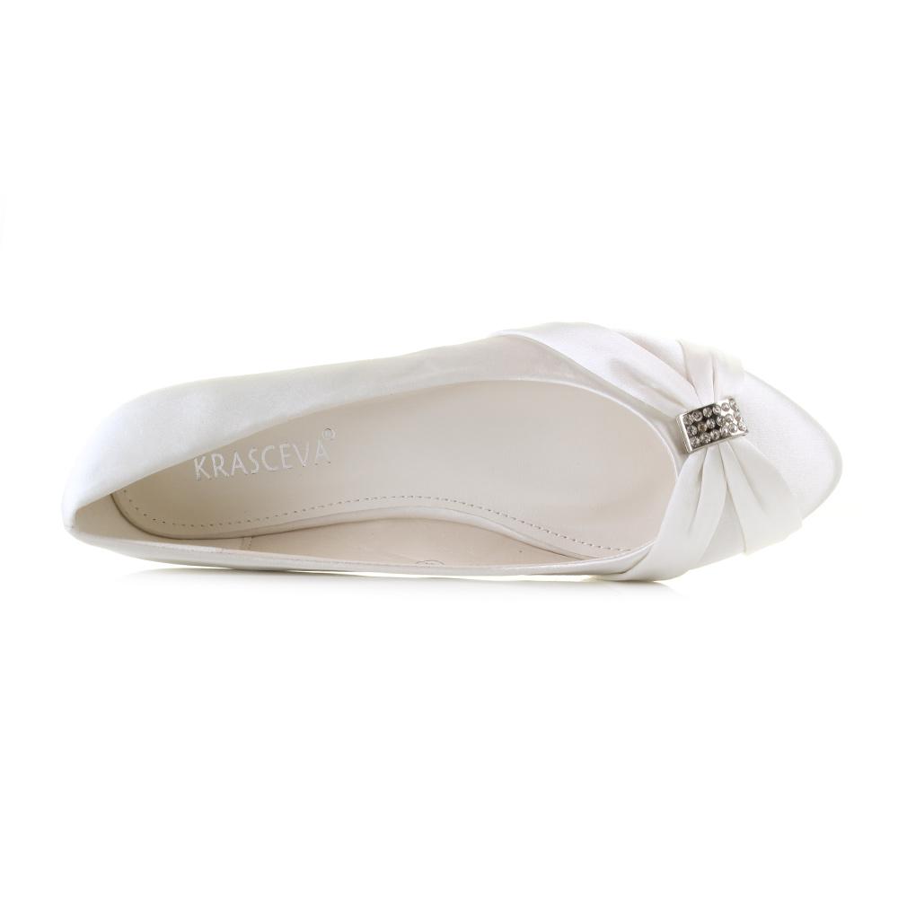 Womens Ladies Wedding Diamante Ivory Satin Ballet Pumps Flats Shoes Sz Size