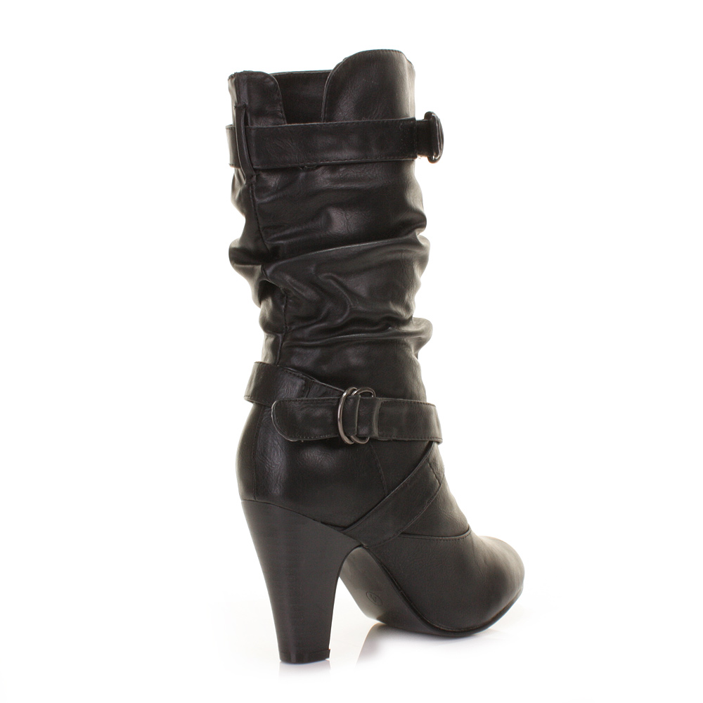 womens black leather style slouch low heel calf