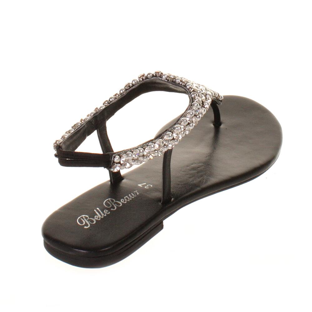 Womens Ladies Black Clear Diamante Flat Slingback Wedding Prom Sandals UK Size | EBay