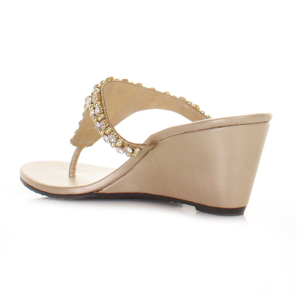 womens gold diamante bead toe post low wedge mule