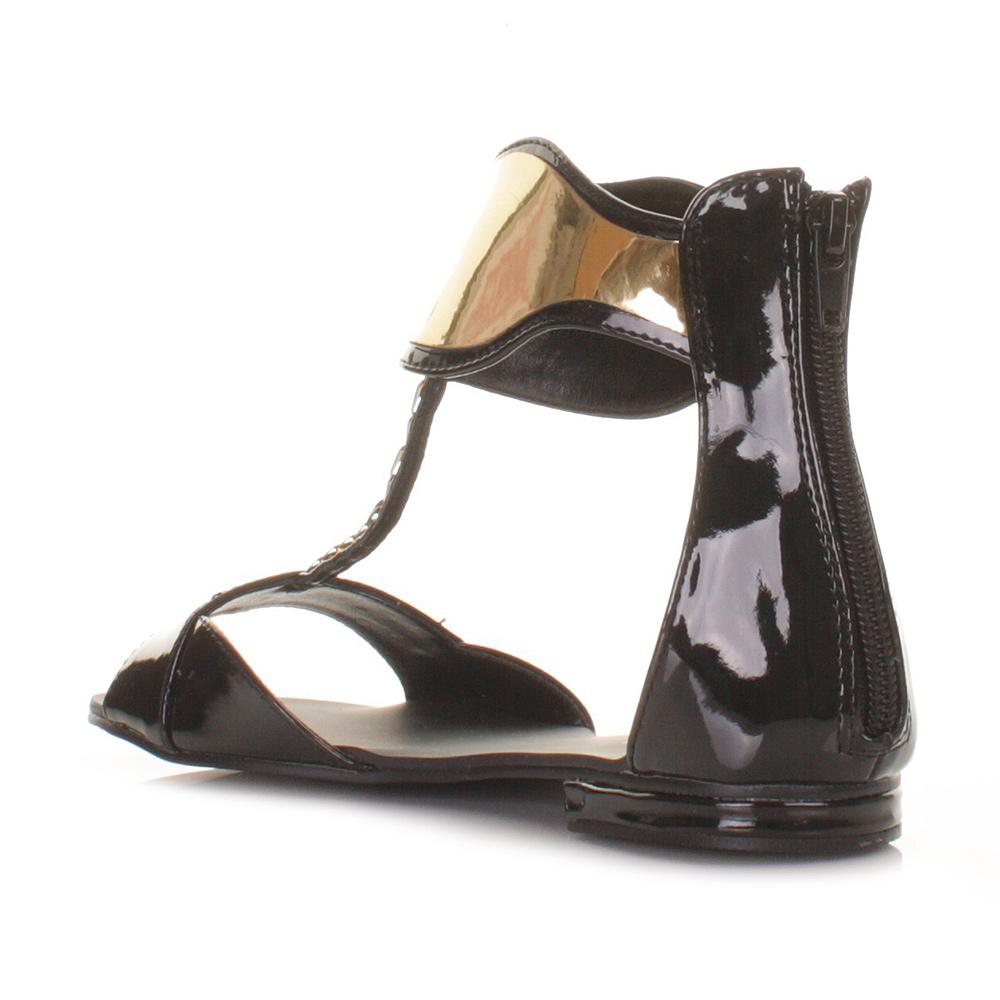 sandalen damen gladiator schuhe flach schwarz lackleder. Black Bedroom Furniture Sets. Home Design Ideas
