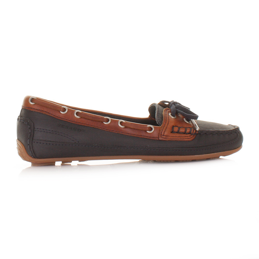 Womens Sebago Bala Leather Navy Blue Shoes Moccasins Boat