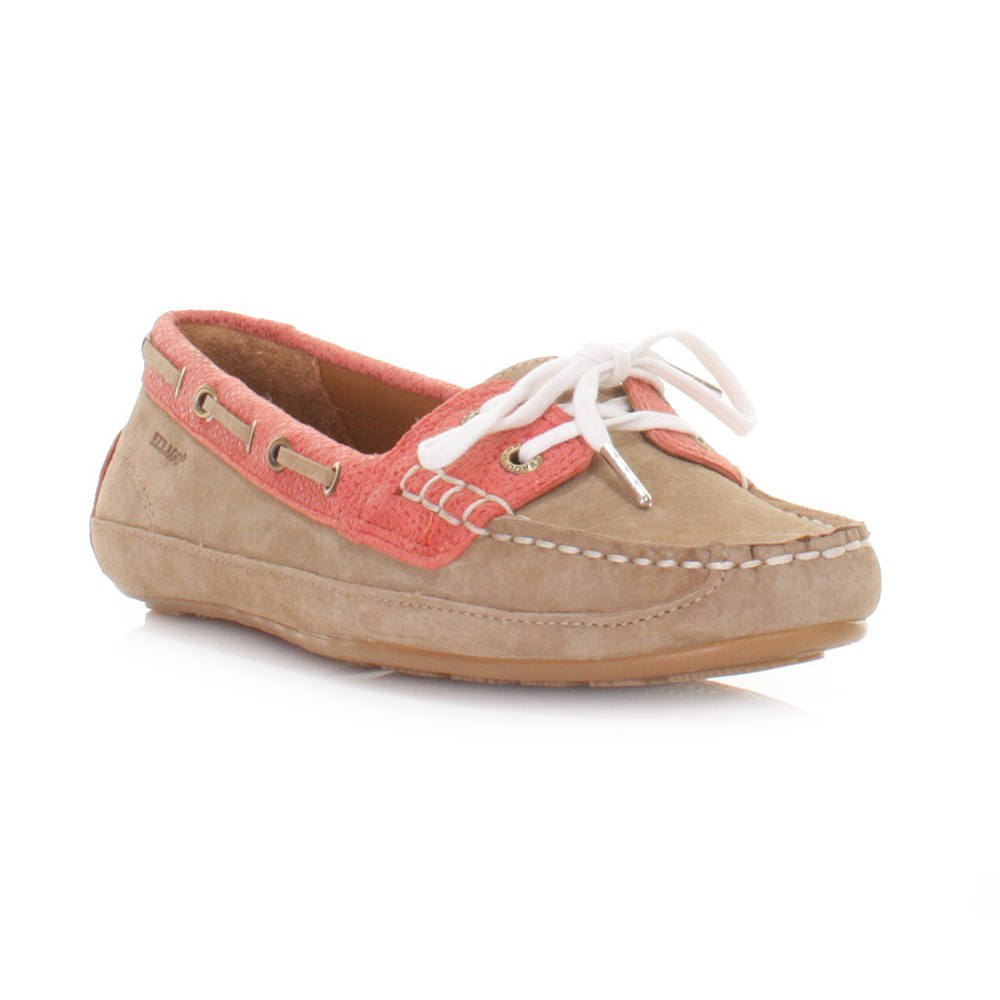 WOMENS SEBAGO BALA MILKSHAKE CORAL LEATHER LACE UP LOAFERS DECK SHOES
